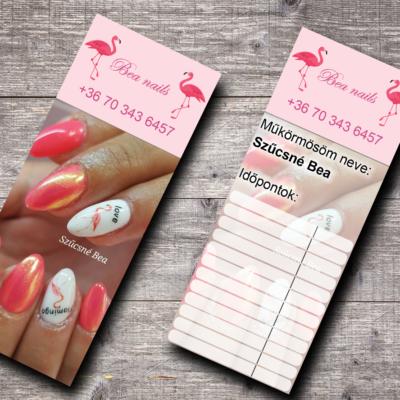 Időpont kártya tervezés - Bea nails
