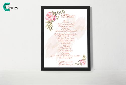 Esküvő menü lap